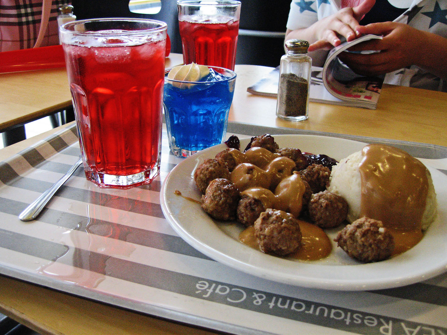 Swedish meatballs at Ikea with lingonberry sauce
